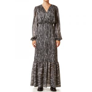 VLASSI HOLEVA LONG DRESS WITH PUFFED SLEEVES AWP2122/B-BLACK/WHITE