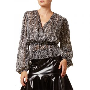 VLASSI HOLEVA BLOUSE WITH PUFFED SLEEVES AWP2134/A-BLACK/WHITE