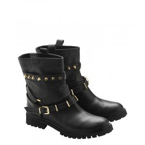 VLASSI HOLEVA LEATHER EMBELLISHED BOOTS BIKER-BLACK