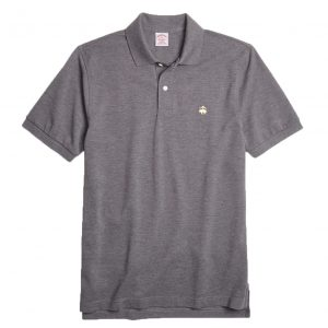 BROOKS BROTHER PERFORMANCE POLO SUPIMA COTTON STRETCH SLIM FIT 320 100076748-015-CHARCOAL