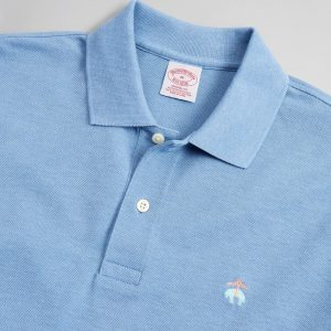 BROOKS BROTHER PERFORMANCE POLO SUPIMA COTTON STRETCH SLIM FIT 4144 00174333-40-BLUE