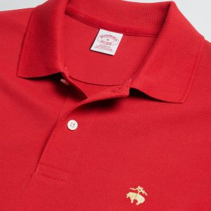 BROOKS BROTHER PERFORMANCE POLO SUPIMA COTTON STRETCH SLIM FIT 434454070-RED