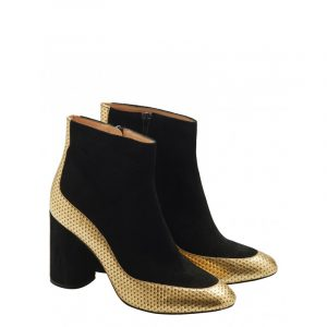 VLASSI HOLEVA SUEDE ANKLE BOOTS WITH GOLD DETAIL SW2003-BLACK/GOLD