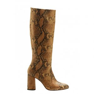 VLASSI HOLEVA SNAKE-EFFECT LEATHER KNEE BOOTS SW2014/A-SNAKE