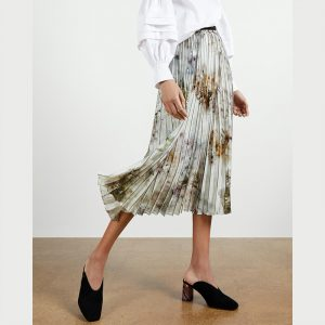 TED BAKER FLAVVIA VANILLA PRINTED PLEATED SKIRT 245344-WHITE/FLORAL