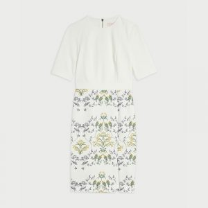 TED BAKER POPINA PAPYRUS CAP SLEEVE BODYCON DRESS 248277-CREAM