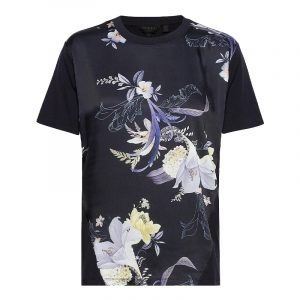 TED BAKER DEBRA DECADENCE WOVEN FRONT T-SHIRT 248413-NAVY