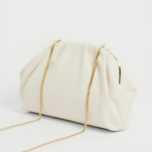 TED BAKER ABYOO GATHERED LEATHER CLUTCH BAG 249122-IVORY