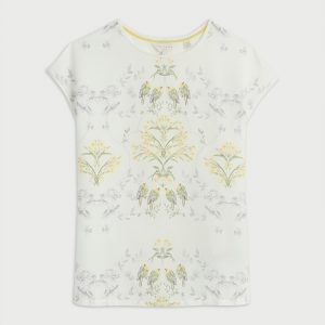 TED BAKER SONJJA PAPYRUS PRINTED WOVEN FRONT T-SHIRT 249724-CREAM