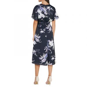 TED BAKER NIITA DECADENCE WRAP MIDI DRESS 249747-NAVY