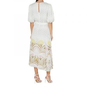 TED BAKER JOULIA DECO PRINTED PUFF SLEEVE DRESS 249753-CREAM