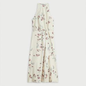 TED BAKER ZOEEEY HALTERNECK OCCASION MIDI DRESS 252407-NATURAL/FLORAL