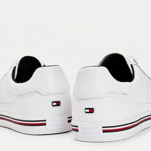 TOMMY HILFIGER CORE CORPORATE LEATHER SNEAKERS FM0FM03393-YBR-WHITE