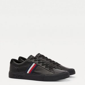TOMMY HILFIGER CORPORATE LEATHER SNEAKERS FM0FM03397-BDS-BLACK
