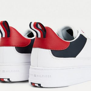 TOMMY HILFIGER MODERN CUPSOLE LEATHER SNEAKERS FM0FM03427-0GY-RED/WHITE/BLUE