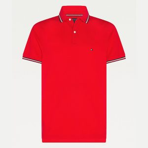 TOMMY HILFIGER TOMMY TIPPED SLIM POLO MW0MW16054-XLG-PRIMARY RED