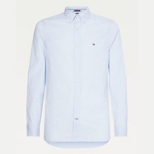 TOMMY HILFIGER SLIM NATURAL SOFT GINGHAM SHIRT MW0MW18340-0MT-BREEZY BLUE / WHITE