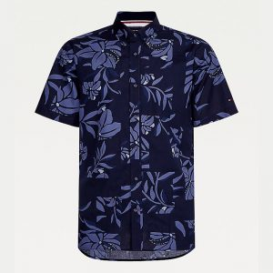 TOMMY HILFIGER PATCHWORK FLORAL PRINT SHIRT S/S MW0MW18341-0GY-NIGHT BLUE/FADED INDIGO/MULTI