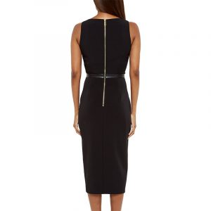 TED BAKER LEATHER PANELLED DRESS WA6W-GD87-KIMLA-BLACK