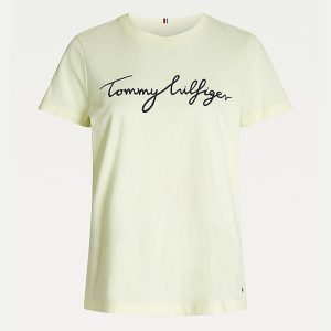 TOMMY HILFIGER CREW NECK GRAPHIC T-SHIRT WW0WW28682-ZP5-FROSTED LEMON