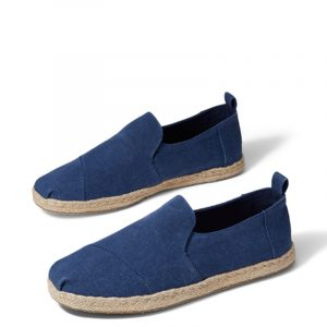 TOMS DECONSTRUCTED ALPARGATA ROPE ESPADRILLES 10011623-NAVY WASHED CANVAS