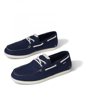 TOMS LOAFERS CLAREMONT MOCCASINS 10016287-NAVY CANVAS