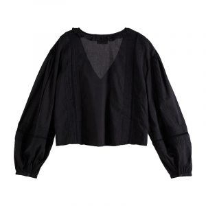 SCOTCH & SODA TOP WITH PIN TUCKS AND LACE INSERT 161450-0008-BLACK