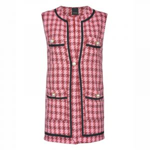 PINKO WAISTCOAT IN LARGE CHECK HOPSACK 1G15QU 8420 NR4-PINK/RED MULTICOLOUR