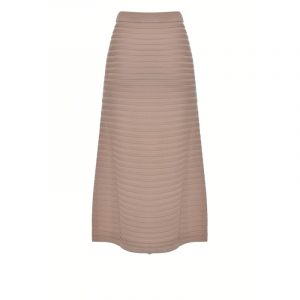 PINKO LONG KNIT SKIRT WITH FRINGING 1G15ZB Y6X8 D28-WARM BEIGE
