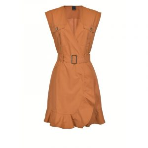 PINKO UTILITY DRESS WITH MATCHING BELT 1G1631 Y6VX L40-CUOIO