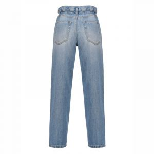 PINKO MOM-FIT JEANS WITH ELASTICATED WAIST 1J10LL Y649 G14-BLUE/DELFT BLUE