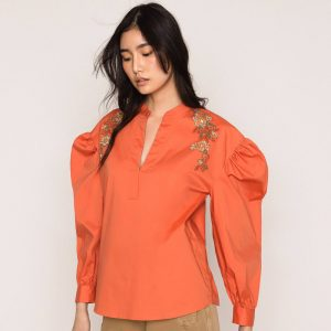 TWINSET POPLIN BLOUSE WITH EMBROIDERY 201TT2130-00707-PARROT