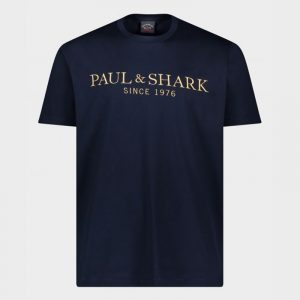 PAUL & SHARK ORGANIC COTTON T-SHIRT WITH EMBROIDERED HERITAGE PAUL&SHARK 21411032-013-BLUE