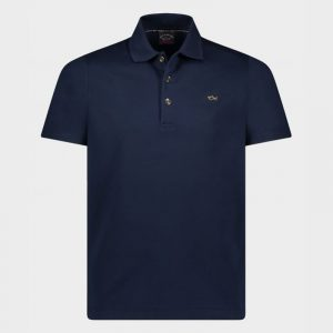 PAUL & SHARK ORGANIC COTTON POLO WITH GOLD SHARK AND BUTTONS 21411245-013-BLUE
