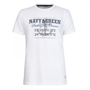 NAVY & GREEN T-SHIRT 24TU.171/6-WHITE