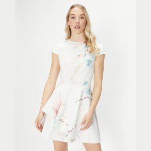 TED BAKER OLIVI RUFFLE SKIRT SKATER DRESS 251463-LIGHT PINK