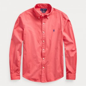 POLO RALPH LAUREN SLIM FIT TWILL SHIRT 710829421012-SUNRISE RED