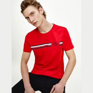 TOMMY HILFIGER CORP SPLIT T-SHIRT MW0MW16592-XLG-PRIMARY RED