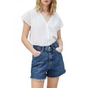 PEPE JEANS NICOLA FLORAL EMBROIDERED SHIRT PL303984-803-OFF WHITE