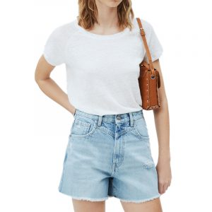 PEPE JEANS AMIRA T-SHIRT IN LINEN FABRIC PL504800-803-OFF WHITE