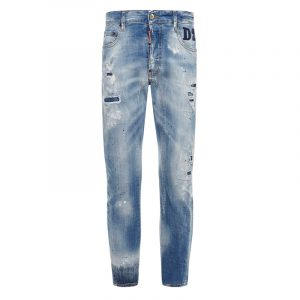 DSQUARED2 RIPPED STRAIGHT-LEG JEANS S74LB0853 S30342 470-BLUE