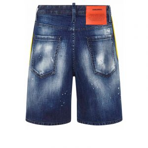 DSQUARED2 LOGO-TRIM DENIM SHORTS S74MU0648 S30342 470-BLUE