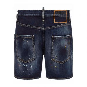 DSQUARED2 DARK 1 WASH DAN COMMANDO DENIM SHORTS S74MU0649 S30664 470-BLUE