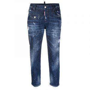 DSQUARED2 DARK 2 WASH COOL GIRL CROPPED JEANS S75LB0438 S30342 470-BLUE