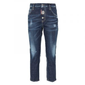 DSQUARED2 DISTRESSED CROPPED JEANS S75LB0443 S30664 470-BLUE