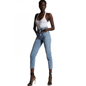 DSQUARED2 LIGHT WASH HIGH WAISTED TWIGGY JEANS S75LB0470 S30595 470-BLUE