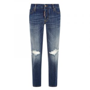 DSQUARED2 AMERICAN MEDIUM WASH JENNIFER CROPPED JEANS S75LB0497 S30342 470-BLUE