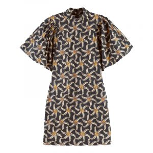 SCOTCH & SODA ORGANIC COTTON PRINTED MINI DRESS WITH VOLUMINOUS SLEEVE 161531-0222-MULTI/COMBO F