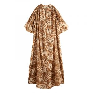 SCOTCH & SODA ORGANIC COTTON PRINTED KAFTAN WITH GATHERING DETAILS 161535-0217-BROWN/COMBO A
