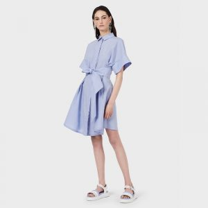 EMPORIO ARMANI POPLIN SHIRT DRESS WITH SASH 3K2AA3 2N0FZ 0809-LILLA MACARONS
